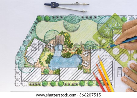 Landscape Architect Design Backyard Plan Villa Stockfoto Lizenzfrei Simple Backyard Plans Designs Plans