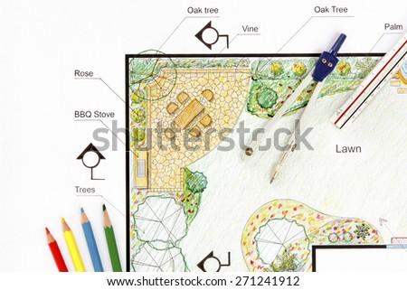 Landscape architect design garden plan - stock photo