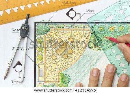 Landscape architect design garden plan. - stock photo