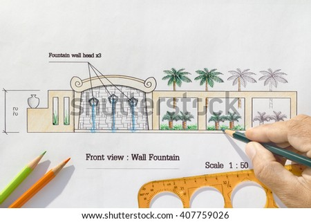Landscape Architect design Modern wall fountain in asian style - stock photo