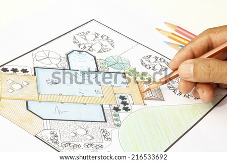 Landscape Architect design water garden  plans for backyard - stock photo