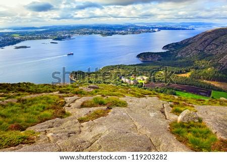 Landscape around Dalsnuten in Rogaland, Norway. - stock photo