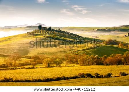 Landscape around Val d Orcia area, Tuscany, Italy - stock photo