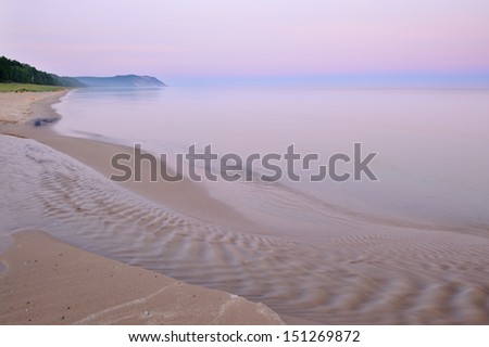 Landscape at dawn of Lake Michigan shoreline, Sleeping Bear Dunes National Lakeshore, Michigan, USA  - stock photo