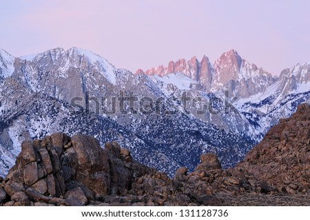 Landscape at dawn of Mt. Whitney Eastern Sierra Nevada Mountains and Alabama Hills near Lone Pine, California, USA - stock photo
