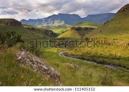 Landscape at Giants castle in the Drakensberg mountains - stock photo