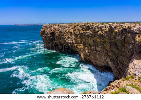 landscape at Sagres fortress during sunset, Portugal. North shore of Cape St. Vincent - stock photo