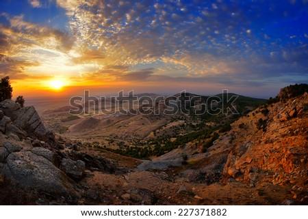 landscape at sunset/sunrise - Tutuiatu view, Dobrogea, Romania - stock photo