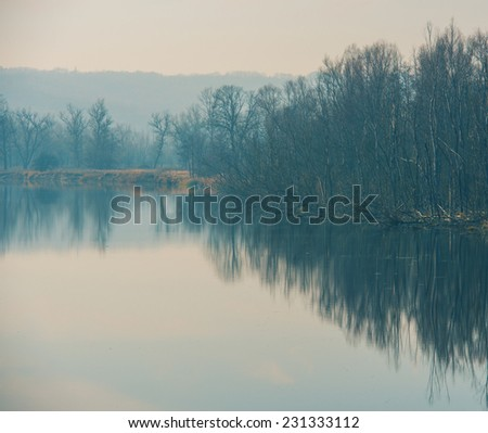 Landscape - autumn forest on the bank of the river