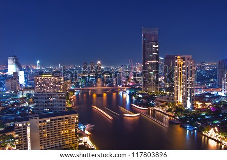 Landscape Bangkok city at twilight, high angle. - stock photo