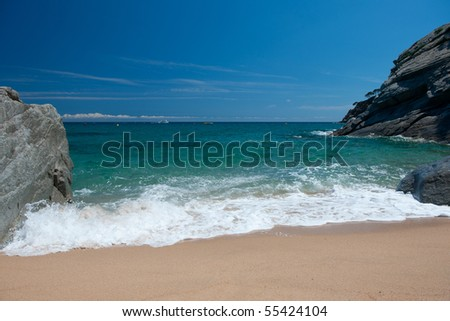 Landscape beach with waves surfs and sand