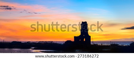 Landscape beautiful. Ruins of church in the early morning. - stock photo