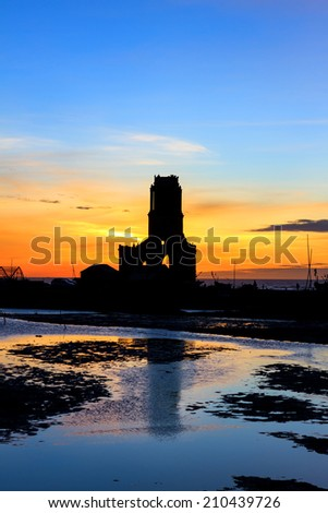 Landscape beautiful. Shadow ruins of church in the early morning. - stock photo