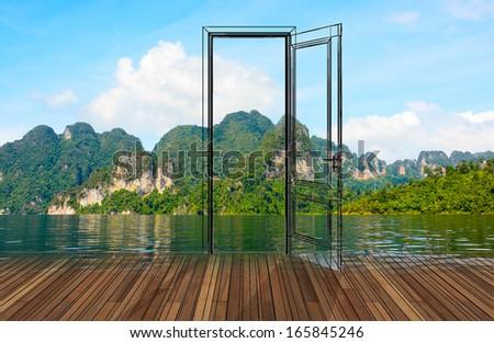 Landscape behind the opening door,3D - stock photo