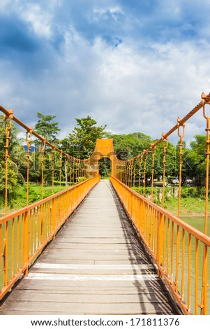 landscape bridge by the Song river at Vang Vieng from Laos - stock photo