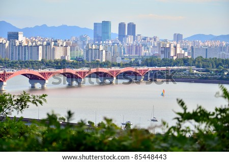 Landscape bridge view of seoul - stock photo