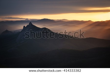 Landscape. Crimean mountains at sunset - stock photo