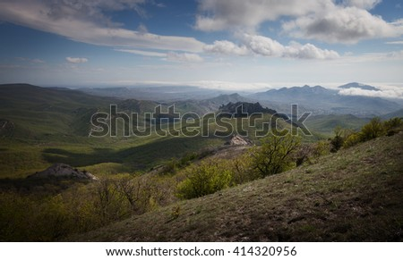 Landscape. Crimean mountains under the blue sky with clouds - stock photo