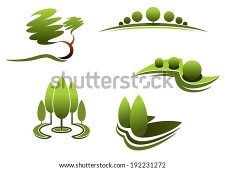 Landscape Design Logo Elementstrees Shrubs Plants Stock ...
