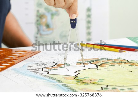 Landscape Designs Blueprints For Resort. - stock photo