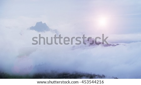 Landscape fog and clouds, mountain background. - stock photo