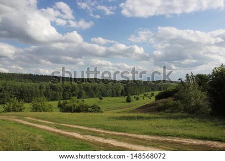 Landscape: forest, meadows, river. Beautiful Ukraine's nature. - stock photo