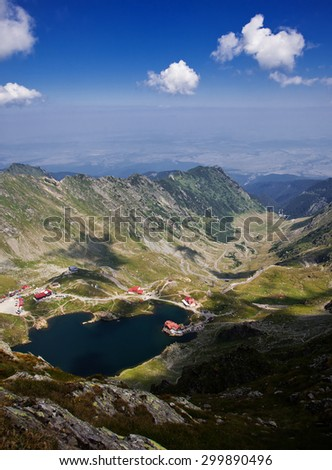 Landscape from Balea Lake, Fagaras Mountains, Romania in the summer