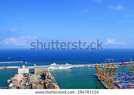 Landscape from bird view of industrial port. Barcelona - stock photo
