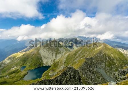 Landscape from Capra Lake, Fagaras Mountaines, Romania. - stock photo