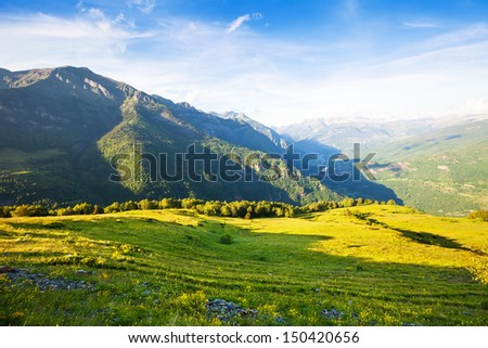 landscape from mountains pass. Pyrenees, Aragon - stock photo