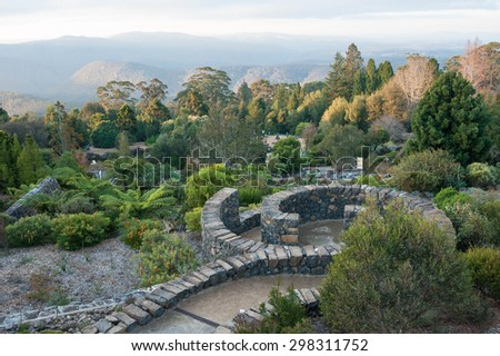 Landscape from the Blue Mountains Botanic Garden in Mount Tomah - stock photo