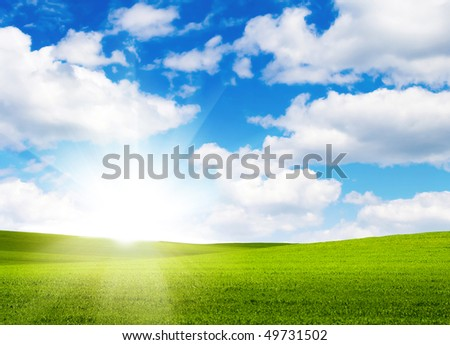 Landscape grass sky - stock photo