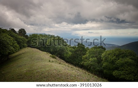 Landscape, green forest under a sky with clouds - stock photo