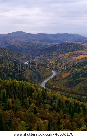 Landscape in Autumn time. Ural mountains. Russia - stock photo