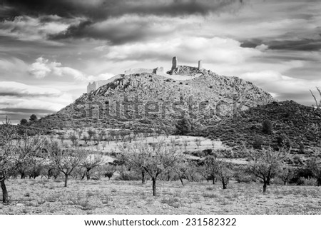 Landscape in black and white. Castle of Xiquena in Lorca, Spain - stock photo
