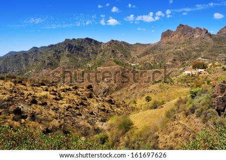 landscape in central area of Gran Canaria, Spain, with a range of mountains in the shape of a sleeping man with his mouth open - stock photo