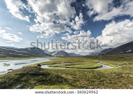 Landscape in Lapland, northern Sweden - stock photo