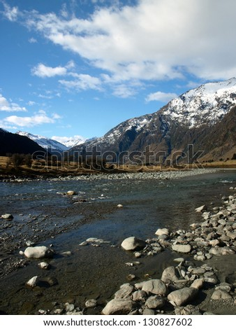Landscape in Mt Aspiring National Park, New Zealand - stock photo