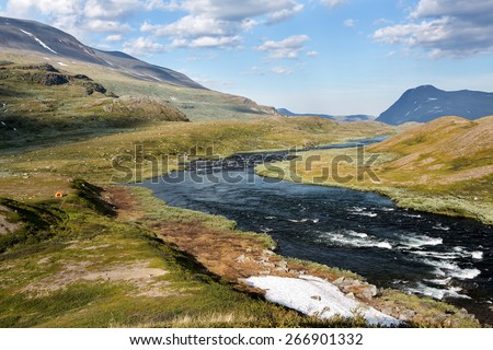 landscape in northern sweden - stock photo