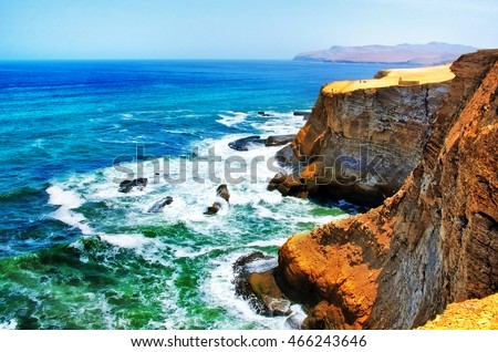 Landscape in Paracas National Park Reserve, Pisco, Peru