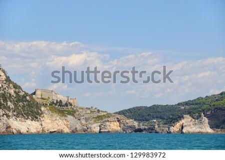 Landscape in Portovenere area and church San Pietro in Chinque Terre, Italy - stock photo