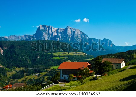 landscape in Renon - stock photo