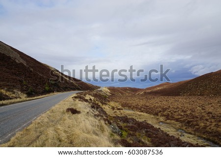 Landscape in Scotland in Cairngorms National Park near A9 road