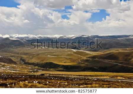 landscape in sichuan, china - stock photo