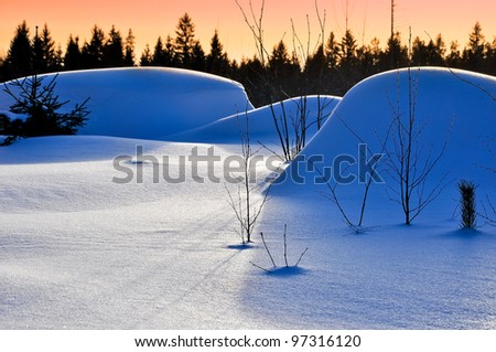 Landscape in snow - stock photo