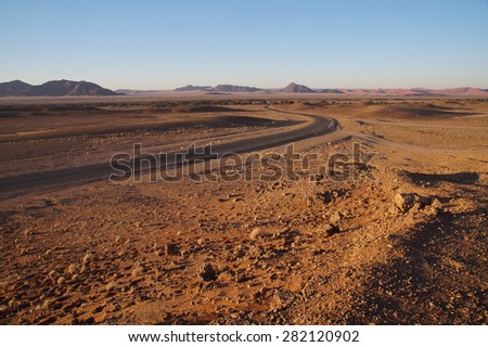 Landscape in Sossusvlei Park during early morning just after sunrise - stock photo