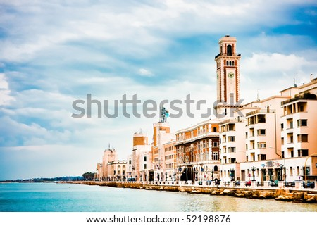 Landscape in spring of the town of Bari in Italy - stock photo