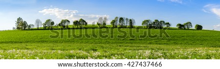 Landscape in Spring, Panorama. Farmland in the middle of Germany. Meadows and trees in a row.  - stock photo