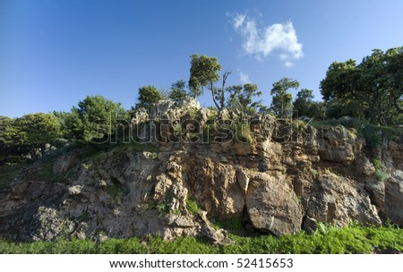 Landscape in the Atlas-mountains near Beni-Mellal in Morocco - stock photo