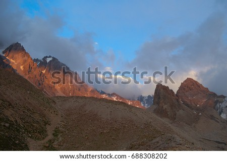 Landscape in the big mountains at sunset
